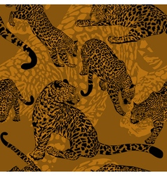 Pattern with wild leopard vector