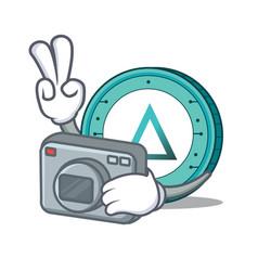 Photographer salt coin mascot cartoon vector