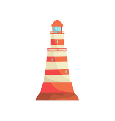 Red and white striped lighthouse searchlight vector