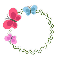 round frame with butterflies isolated on white vector image vector image