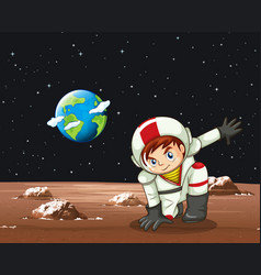 Scene with astronaut in space vector