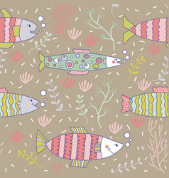 seamless pattern fish swimming underwater doodle vector image vector image