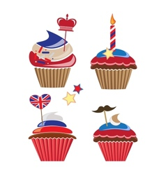 set of cupcakes for United Kingdom party vector image