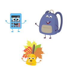 set of funny characters from calculator school vector image vector image