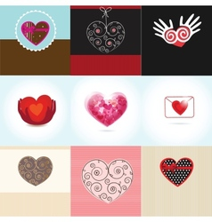 Set Valentines card with flowers and hearts vector image vector image