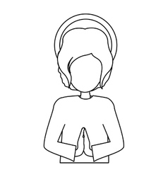 Silhouette half body picture baby jesus vector