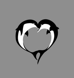 silhouette of two dolphin couple in shape heart vector image