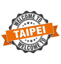 taipei round ribbon seal vector image