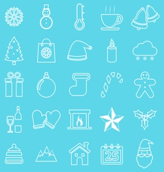 Winter line icons on blue background vector