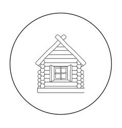 Wooden house icon in outline style isolated on vector