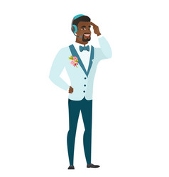 Young african-american groom in headset vector