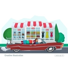 Girl rides on a red convertible with shopping car vector