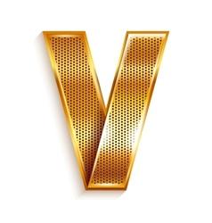 Letter metal gold ribbon - v vector