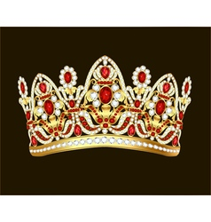 royal jewelry shiny gold crown with gems vector image