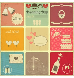 Wedding set of retro cards vector