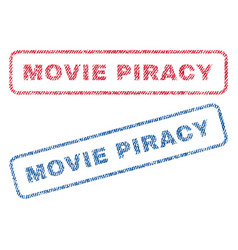 Movie piracy textile stamps vector