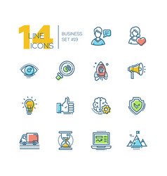 Business - colored modern single line icons set vector