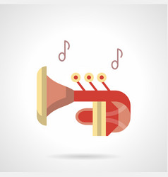 red trumpet flat color icon vector image