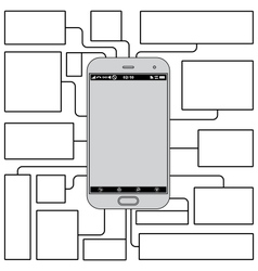 Touchscreen phone features blank template vector
