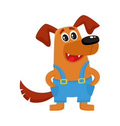 Brown funny dog puppy character in blue overalls vector