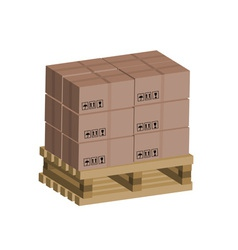 Cardboard boxes on wooden pallet vector