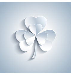Patricks day card with grey decorative leaf clover vector
