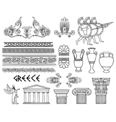 Greece architecture and ornaments set vector