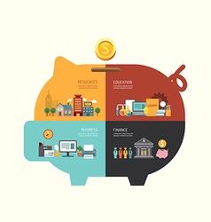 Business investment saving concept infographic pig vector