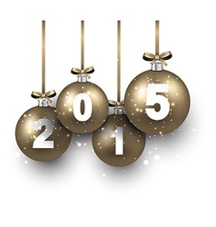 Realistic golden christmas balls with 2015 vector