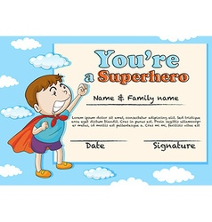 Certification template with boy being superhero vector