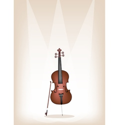 A Beautiful Brown Cello on Stage Background vector image vector image