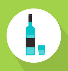 alcohol bottle with glass flat style vector image vector image