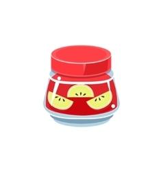 Apple jam in transparent jar vector