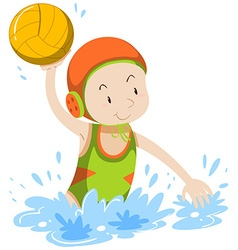 Athlete doing water polo vector