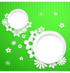 Background with circles and paper flowers vector