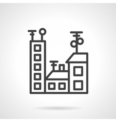 Black line city icon vector