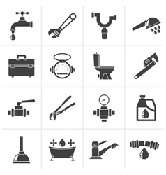 Black plumbing objects and tools icons vector image vector image