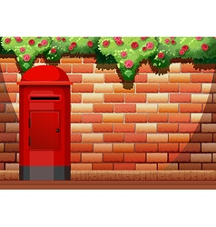 Brick wall and post box vector
