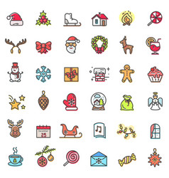 christmas holiday set of icons vector image vector image