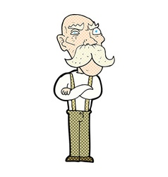 Comic cartoon angry old man vector
