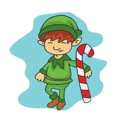 Cute elf helpers kid cartoon vector