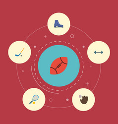 Flat icons glove rocket puck and other vector