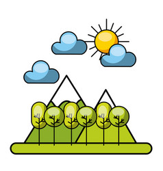 forrest with clouds and sun image vector image