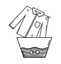 Grayscale clean shirt soaking in pail with water vector
