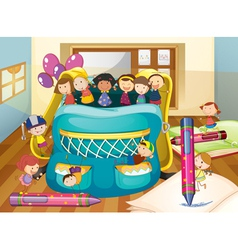 kids and big bag vector image vector image