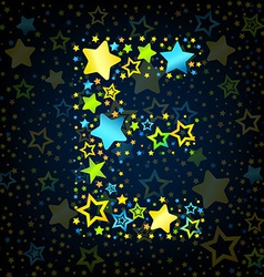 Letter e cartoon star colored vector