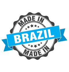 Made in brazil round seal vector