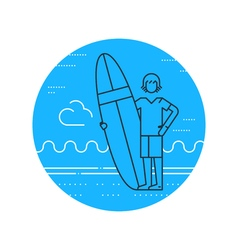 Man on the beach with surf board standing vector