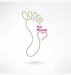Massage sign and foot logo with heart vector image