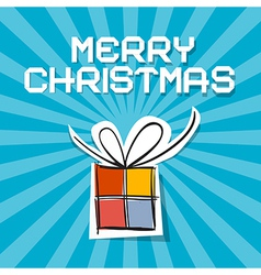 Merry Christmas - Paper Gift Box on Blue Ret vector image